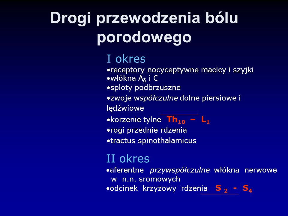 Drogi przewodzenia bólu porodowego I okres receptory nocyceptywne macicy i szyjki włókna A δ i C sploty podbrzuszne zwoje współczulne dolne piersiowe
