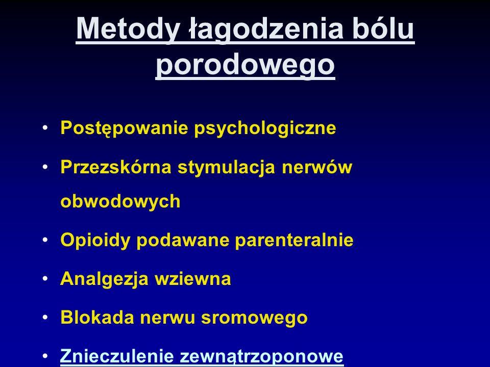 Metody łagodzenia bólu porodowego Postępowanie psychologiczne Przezskórna stymulacja nerwów obwodowych Opioidy podawane parenteralnie Analgezja wziewn