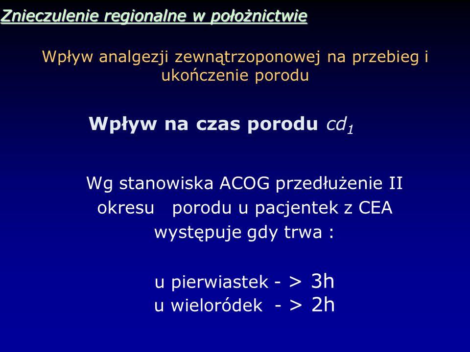 Wpływ analgezji zewnątrzoponowej na przebieg i ukończenie porodu Znieczulenie regionalne w położnictwie Wpływ na czas porodu cd 1 Wg stanowiska ACOG p