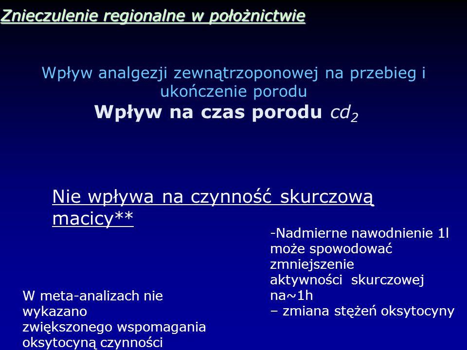 Wpływ analgezji zewnątrzoponowej na przebieg i ukończenie porodu Znieczulenie regionalne w położnictwie Wpływ na czas porodu cd 2 Nie wpływa na czynno