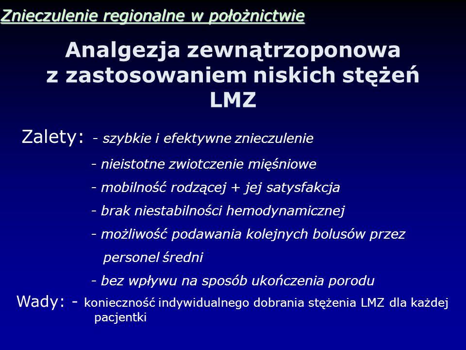 Analgezja zewnątrzoponowa z zastosowaniem niskich stężeń LMZ Znieczulenie regionalne w położnictwie Zalety: - szybkie i efektywne znieczulenie - nieis