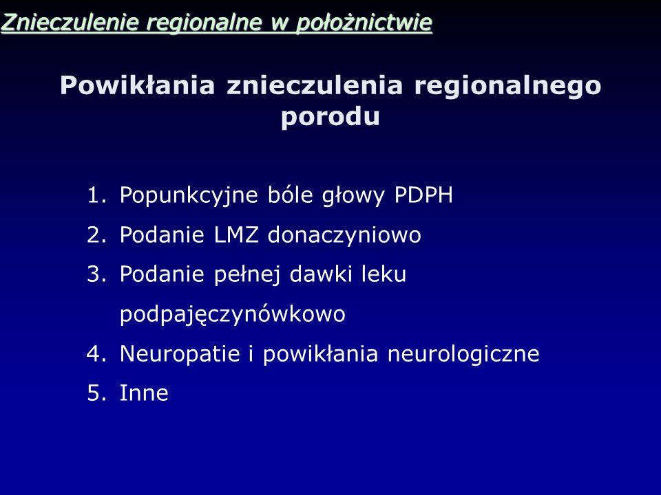 Powikłania znieczulenia regionalnego porodu Znieczulenie regionalne w położnictwie 1.Popunkcyjne bóle głowy PDPH 2.Podanie LMZ donaczyniowo 3.Podanie