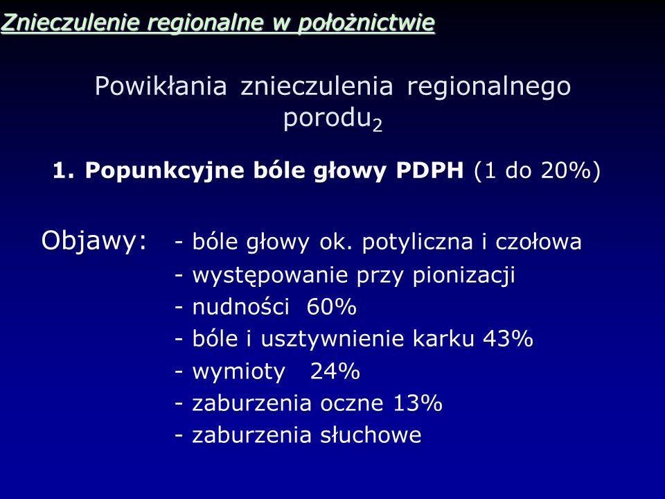 Powikłania znieczulenia regionalnego porodu 2 Znieczulenie regionalne w położnictwie 1.Popunkcyjne bóle głowy PDPH (1 do 20%) Objawy: - bóle głowy ok.