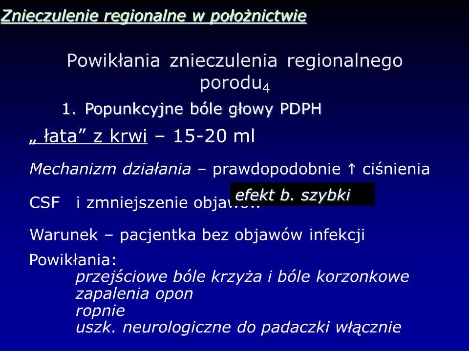 Powikłania znieczulenia regionalnego porodu 4 Znieczulenie regionalne w położnictwie 1.Popunkcyjne bóle głowy PDPH łata z krwi – 15-20 ml Mechanizm dz