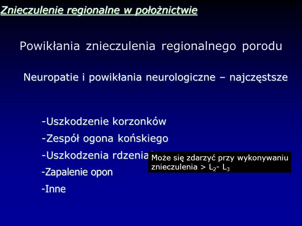 Powikłania znieczulenia regionalnego porodu Znieczulenie regionalne w położnictwie Neuropatie i powikłania neurologiczne – najczęstsze -Uszkodzenie ko