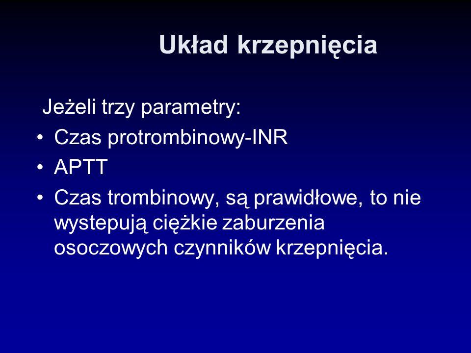 Układ krzepnięcia Jeżeli trzy parametry: Czas protrombinowy-INR APTT Czas trombinowy, są prawidłowe, to nie wystepują ciężkie zaburzenia osoczowych cz