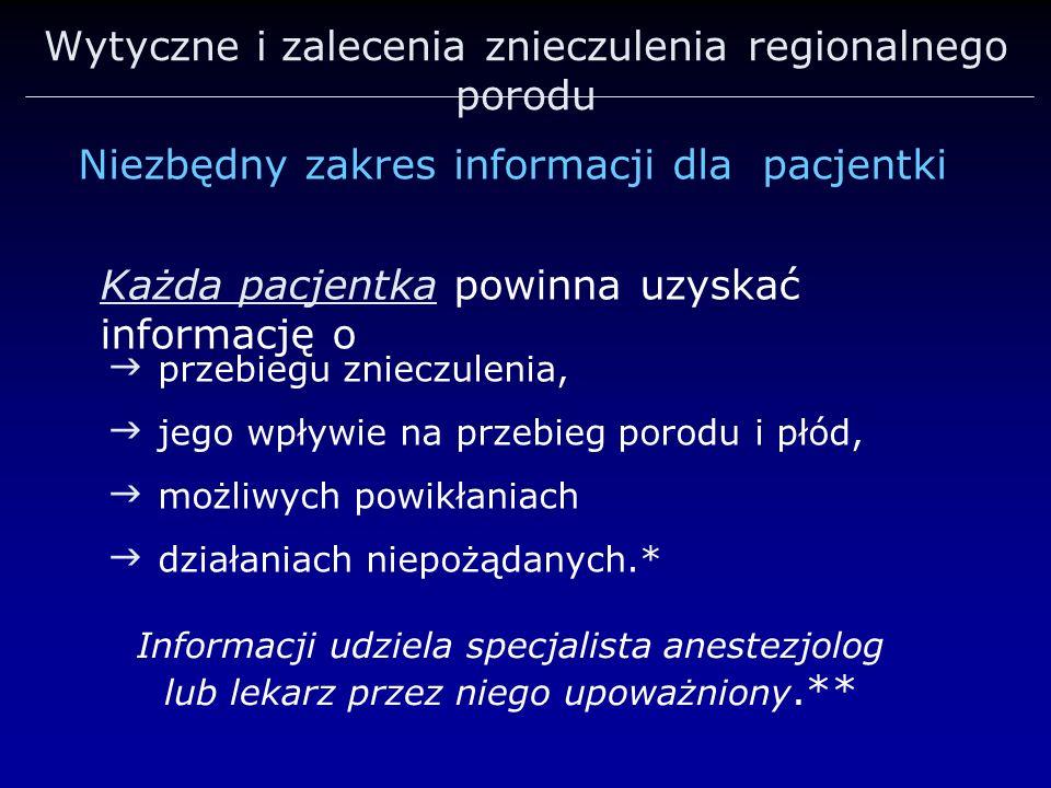 Wytyczne i zalecenia znieczulenia regionalnego porodu Niezbędny zakres informacji dla pacjentki przebiegu znieczulenia, jego wpływie na przebieg porod