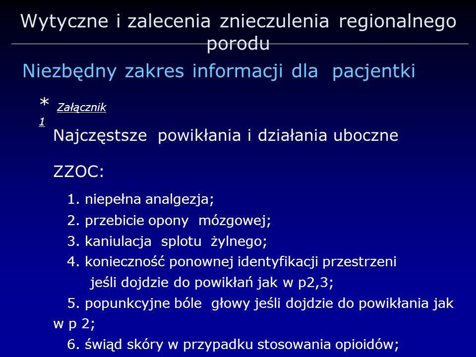 Wytyczne i zalecenia znieczulenia regionalnego porodu Niezbędny zakres informacji dla pacjentki Najczęstsze powikłania i działania uboczne ZZOC: 1. ni