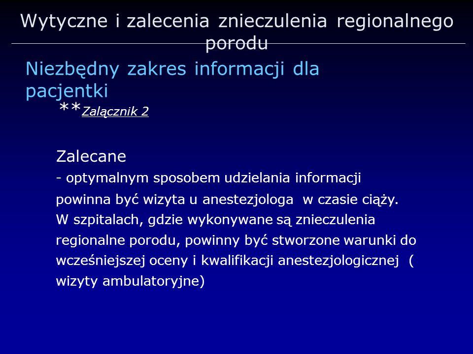 Wytyczne i zalecenia znieczulenia regionalnego porodu ** Zalącznik 2 Zalecane - optymalnym sposobem udzielania informacji powinna być wizyta u anestez
