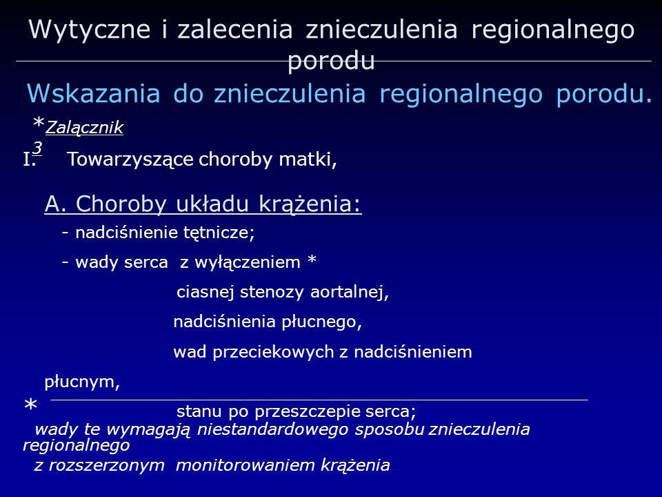 Wytyczne i zalecenia znieczulenia regionalnego porodu Wskazania do znieczulenia regionalnego porodu. * Zalącznik 3 I.Towarzyszące choroby matki, * wad