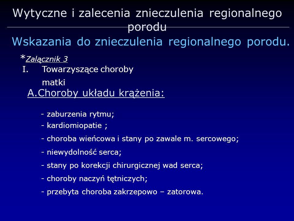 Wytyczne i zalecenia znieczulenia regionalnego porodu Wskazania do znieczulenia regionalnego porodu. * Zalącznik 3 A.Choroby układu krążenia: - zaburz