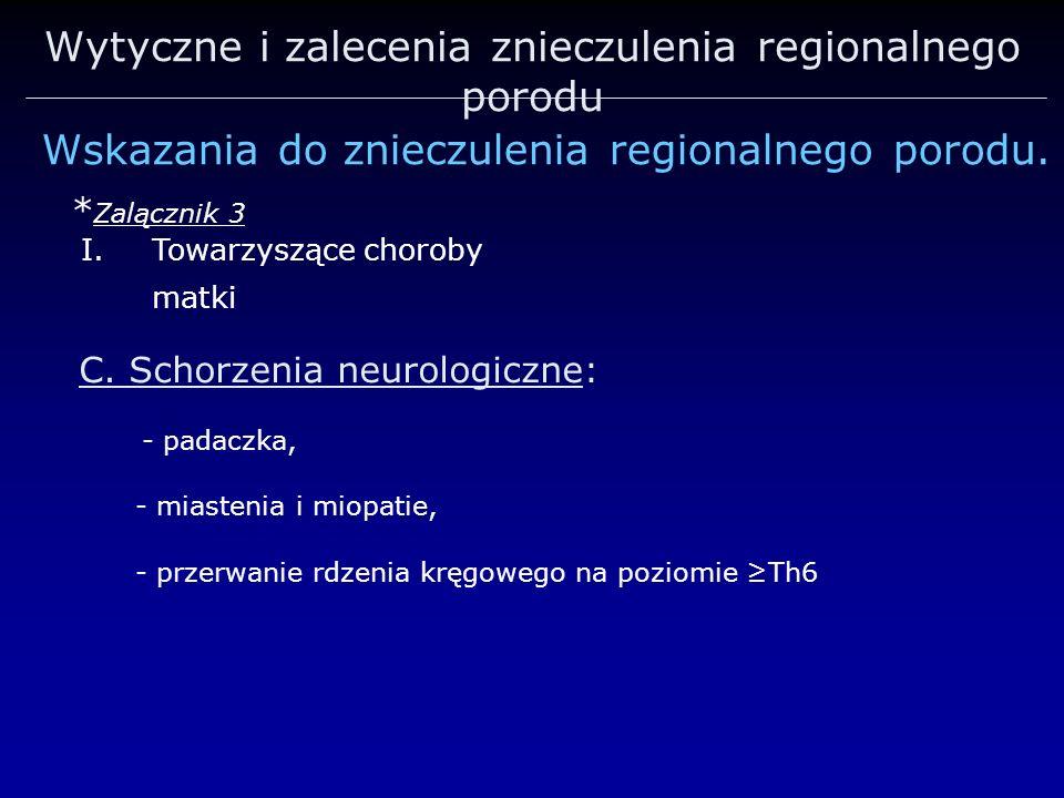 Wytyczne i zalecenia znieczulenia regionalnego porodu Wskazania do znieczulenia regionalnego porodu. * Zalącznik 3 I.Towarzyszące choroby matki C. Sch