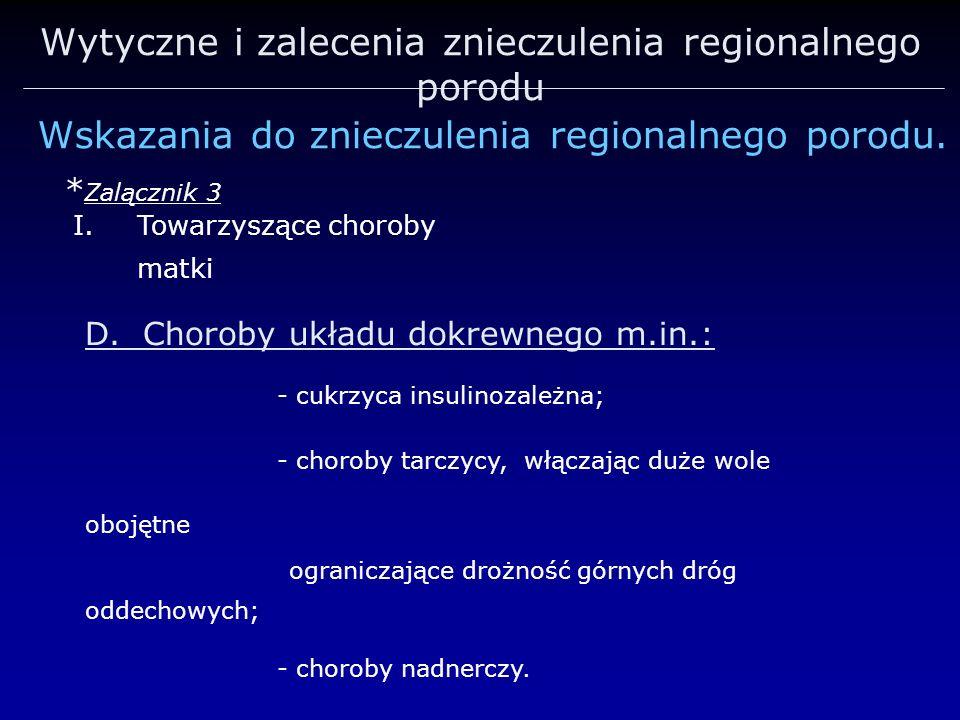 Wytyczne i zalecenia znieczulenia regionalnego porodu Wskazania do znieczulenia regionalnego porodu. * Zalącznik 3 I.Towarzyszące choroby matki D. Cho