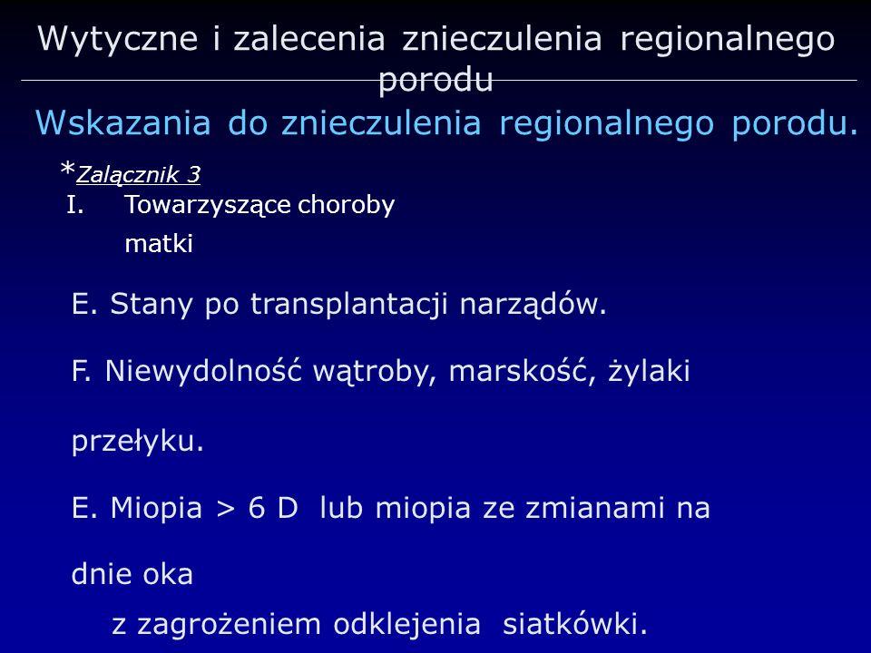 Wytyczne i zalecenia znieczulenia regionalnego porodu Wskazania do znieczulenia regionalnego porodu. * Zalącznik 3 I.Towarzyszące choroby matki E. Sta