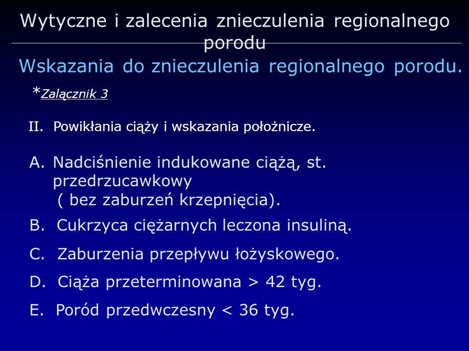 Wytyczne i zalecenia znieczulenia regionalnego porodu Wskazania do znieczulenia regionalnego porodu. * Zalącznik 3 A.Nadciśnienie indukowane ciążą, st