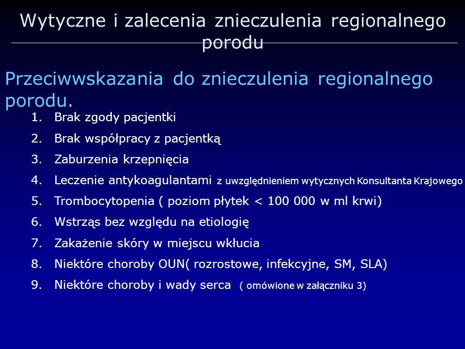 Wytyczne i zalecenia znieczulenia regionalnego porodu Przeciwwskazania do znieczulenia regionalnego porodu. 1.Brak zgody pacjentki 2.Brak współpracy z