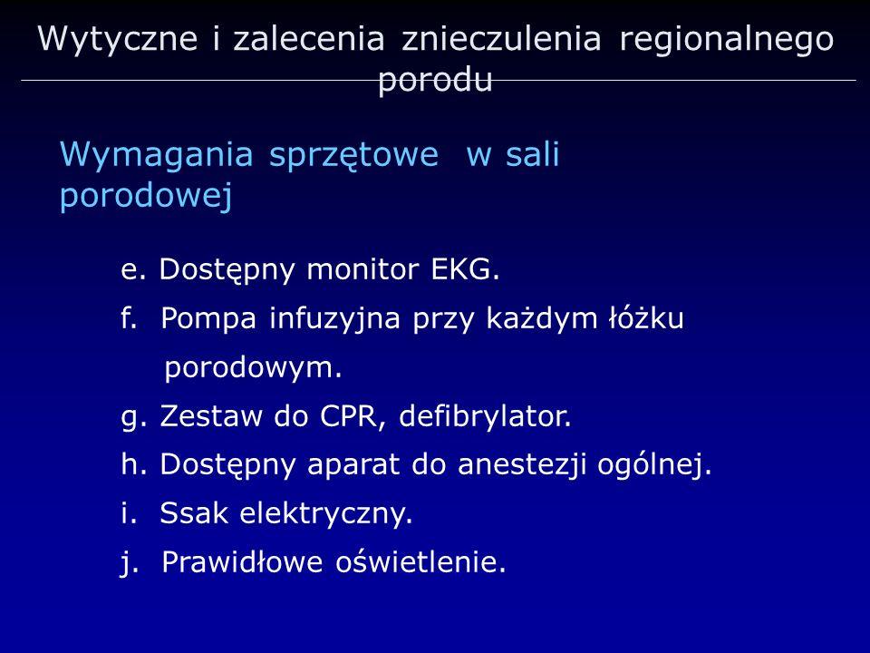 Wytyczne i zalecenia znieczulenia regionalnego porodu Wymagania sprzętowe w sali porodowej e. Dostępny monitor EKG. f. Pompa infuzyjna przy każdym łóż