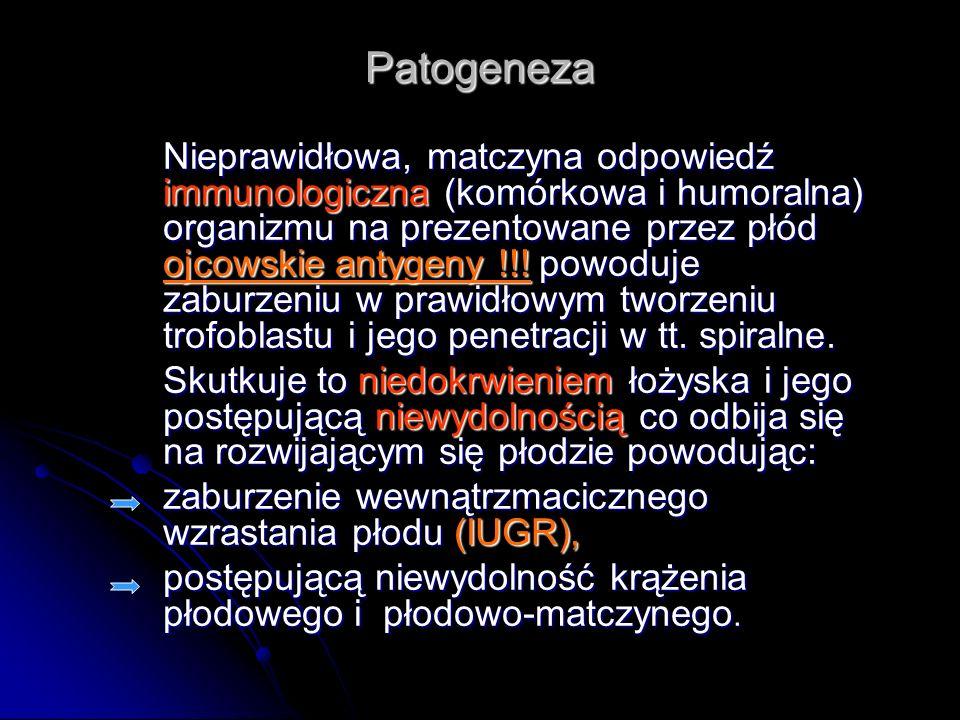 Patogeneza Nieprawidłowa, matczyna odpowiedź immunologiczna (komórkowa i humoralna) organizmu na prezentowane przez płód ojcowskie antygeny !!! powodu