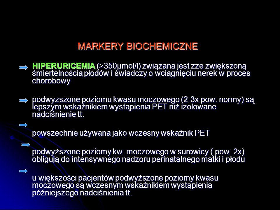 MARKERY BIOCHEMICZNE HIPERURICEMIA (>350µmol/l) związana jest zze zwiększoną śmiertelnością płodów i świadczy o wciągnięciu nerek w proces chorobowy p