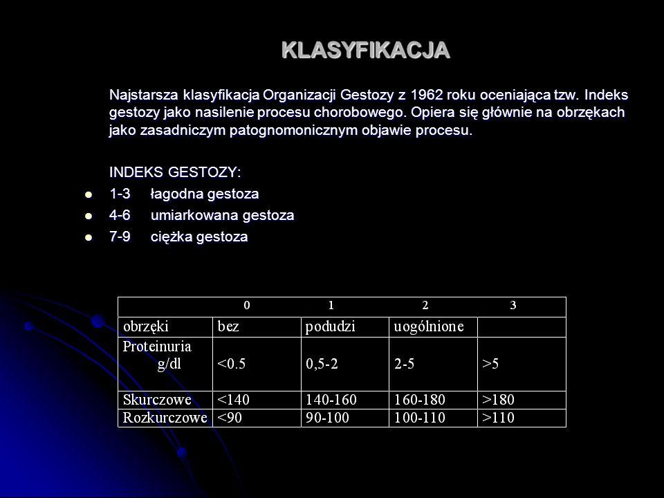 KLASYFIKACJA Najstarsza klasyfikacja Organizacji Gestozy z 1962 roku oceniająca tzw. Indeks gestozy jako nasilenie procesu chorobowego. Opiera się głó