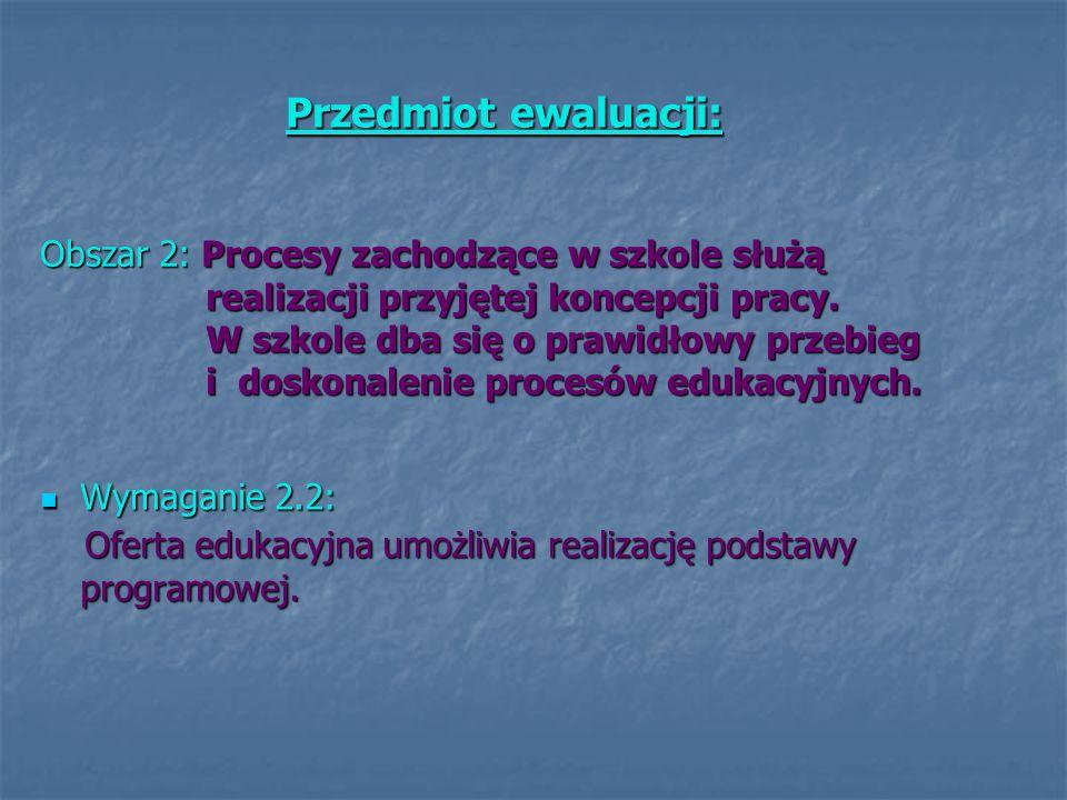 Obszar 2: Procesy zachodzące w szkole służą realizacji przyjętej koncepcji pracy. W szkole dba się o prawidłowy przebieg i doskonalenie procesów eduka