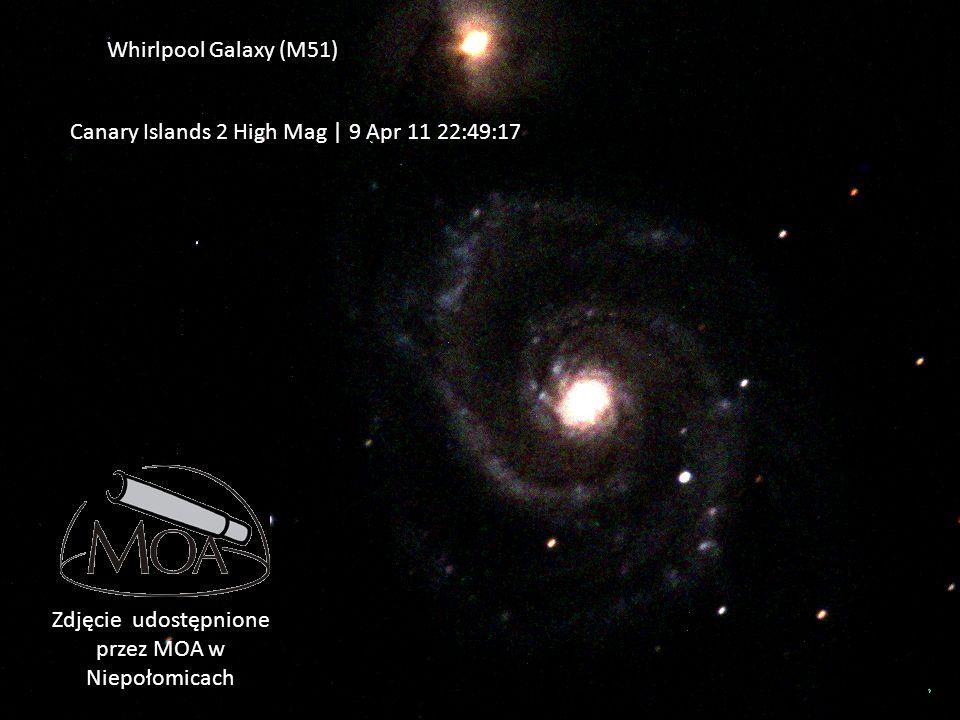 Canary Islands 2 High Mag | 9 Apr 11 22:49:17 UTC Whirlpool Galaxy (M51) Zdjęcie udostępnione przez MOA w Niepołomicach