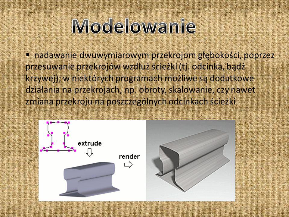 nadawanie dwuwymiarowym przekrojom głębokości, poprzez przesuwanie przekrojów wzdłuż ścieżki (tj. odcinka, bądź krzywej); w niektórych programach możl