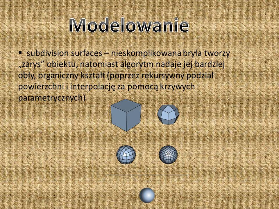 subdivision surfaces – nieskomplikowana bryła tworzy zarys obiektu, natomiast algorytm nadaje jej bardziej obły, organiczny kształt (poprzez rekursywn