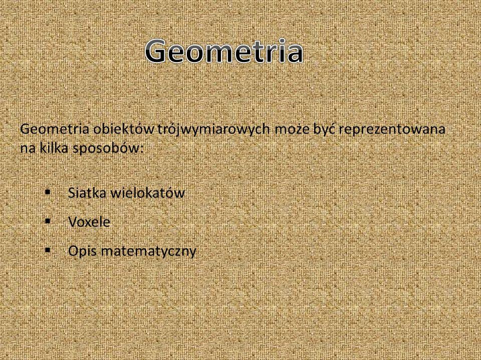 Geometria obiektów trójwymiarowych może być reprezentowana na kilka sposobów: Siatka wielokatów Voxele Opis matematyczny