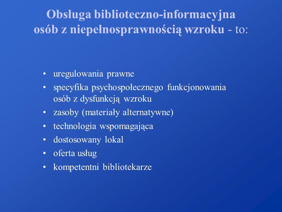 Obsługa biblioteczno-informacyjna osób z niepełnosprawnością wzroku - to: uregulowania prawne specyfika psychospołecznego funkcjonowania osób z dysfun