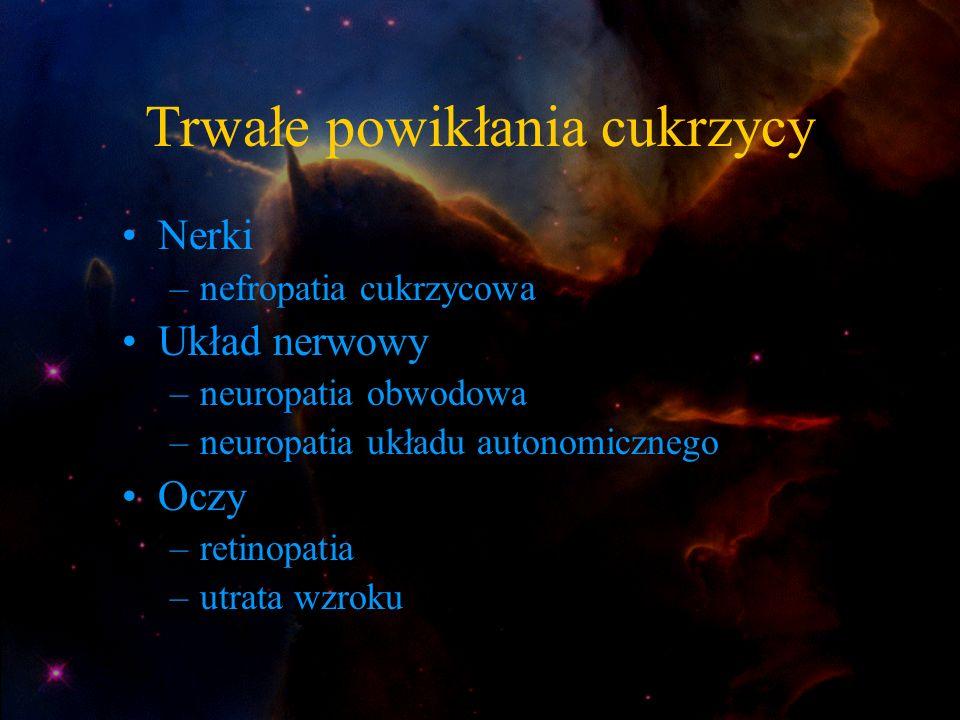 Trwałe powikłania cukrzycy Nerki –nefropatia cukrzycowa Układ nerwowy –neuropatia obwodowa –neuropatia układu autonomicznego Oczy –retinopatia –utrata