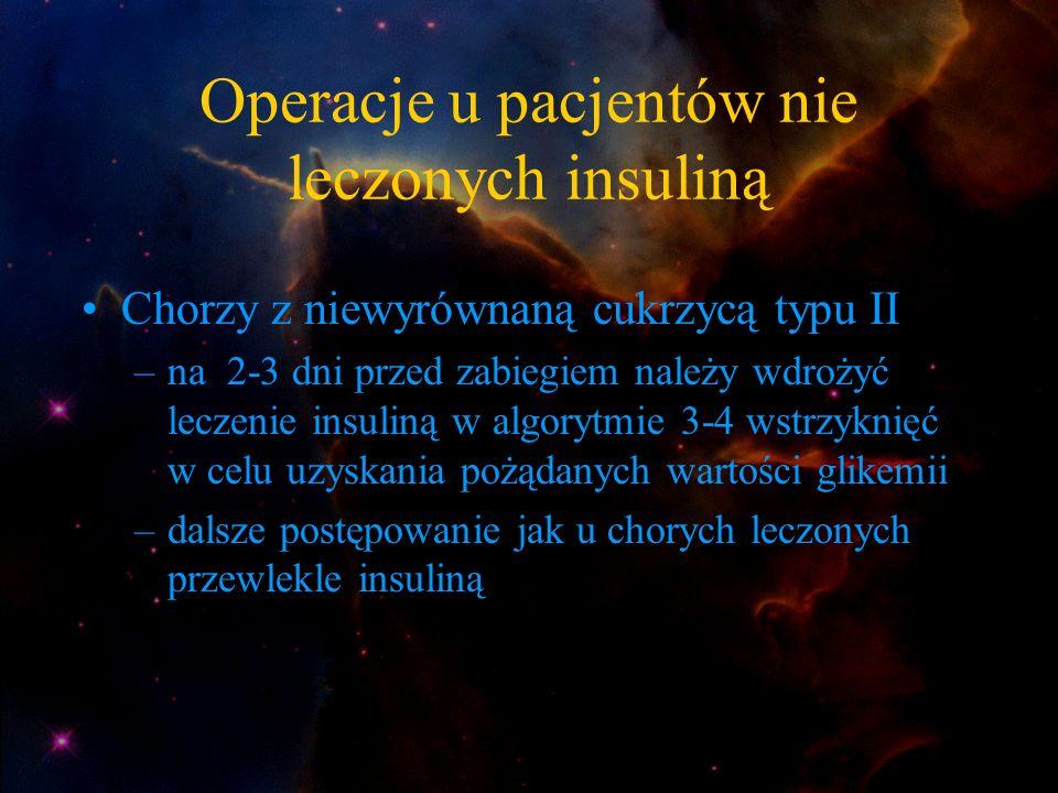 Operacje u pacjentów nie leczonych insuliną Chorzy z niewyrównaną cukrzycą typu II –na 2-3 dni przed zabiegiem należy wdrożyć leczenie insuliną w algo