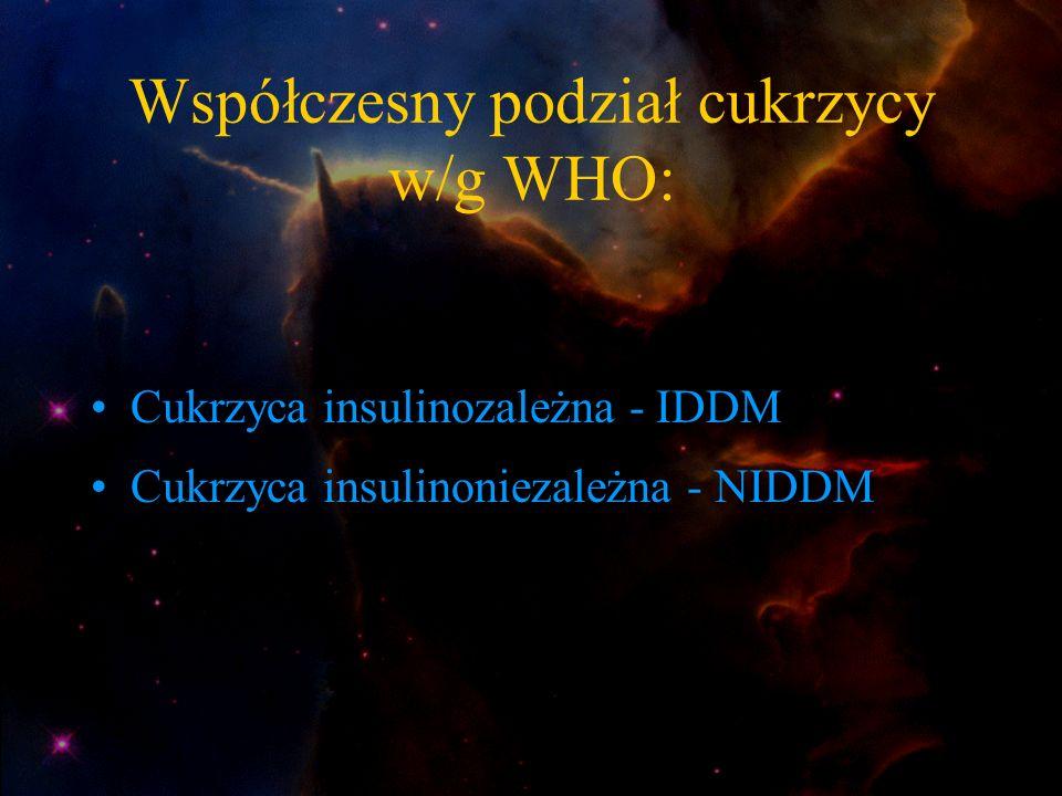 Współczesny podział cukrzycy w/g WHO: Cukrzyca insulinozależna - IDDM Cukrzyca insulinoniezależna - NIDDM