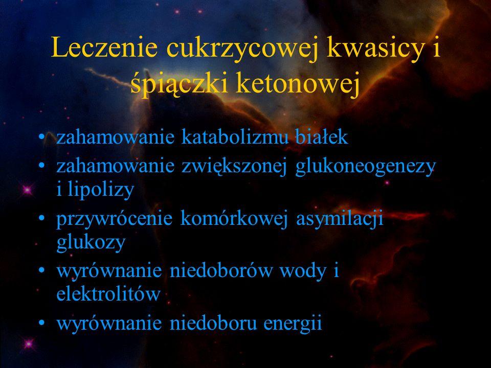 Leczenie cukrzycowej kwasicy i śpiączki ketonowej zahamowanie katabolizmu białek zahamowanie zwiększonej glukoneogenezy i lipolizy przywrócenie komórk