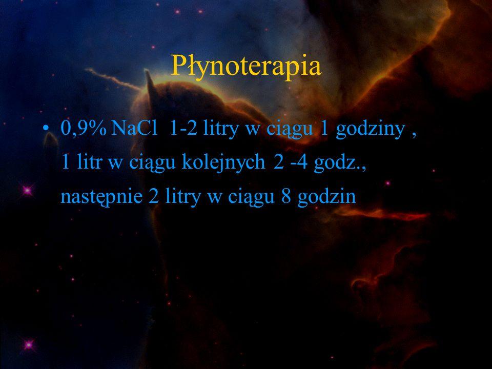 Płynoterapia 0,9% NaCl 1-2 litry w ciągu 1 godziny, 1 litr w ciągu kolejnych 2 -4 godz., następnie 2 litry w ciągu 8 godzin