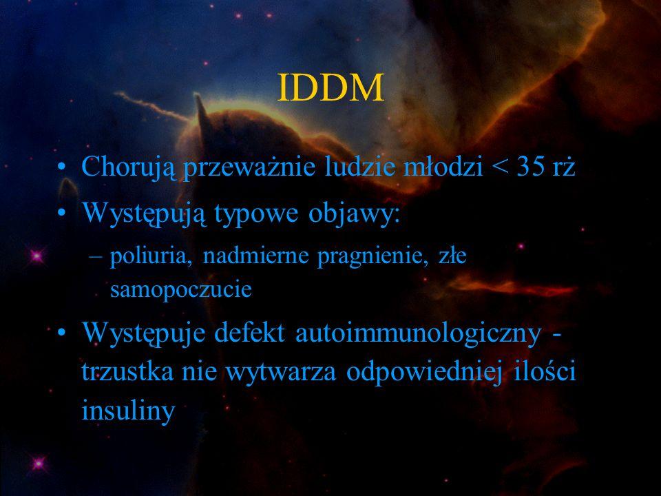 IDDM Chorują przeważnie ludzie młodzi < 35 rż Występują typowe objawy: –poliuria, nadmierne pragnienie, złe samopoczucie Występuje defekt autoimmunolo