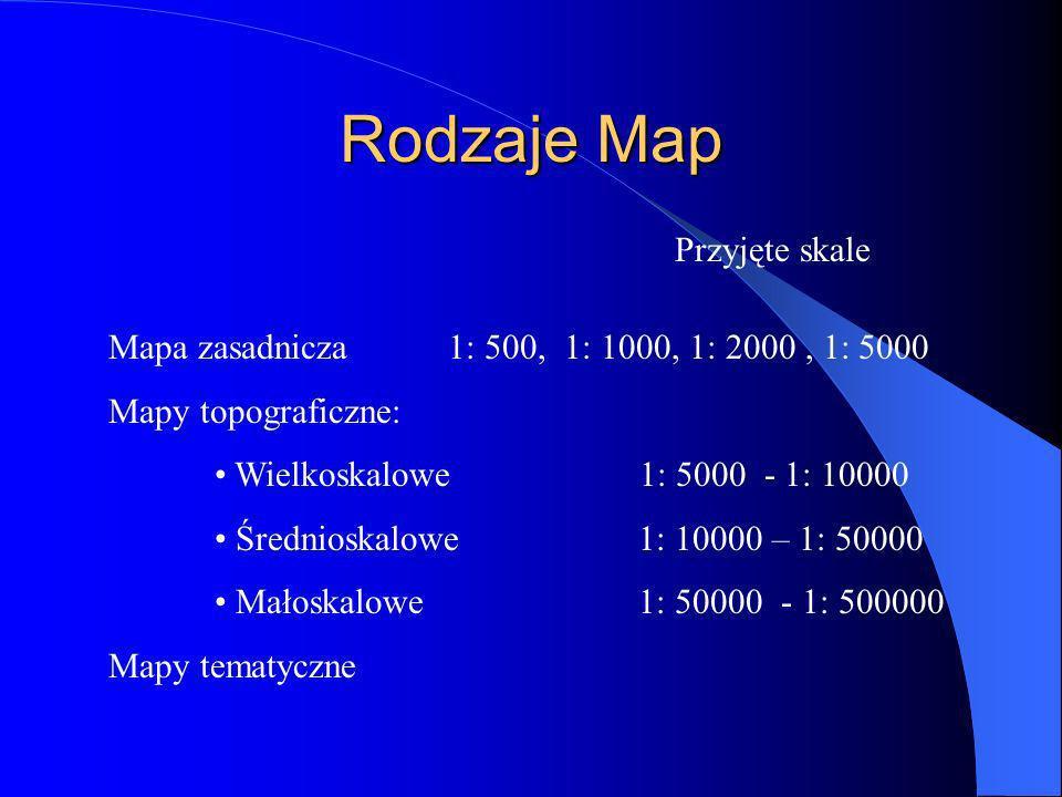 Rodzaje Map Mapa zasadnicza 1: 500, 1: 1000, 1: 2000, 1: 5000 Mapy topograficzne: Wielkoskalowe 1: 5000 - 1: 10000 Średnioskalowe 1: 10000 – 1: 50000