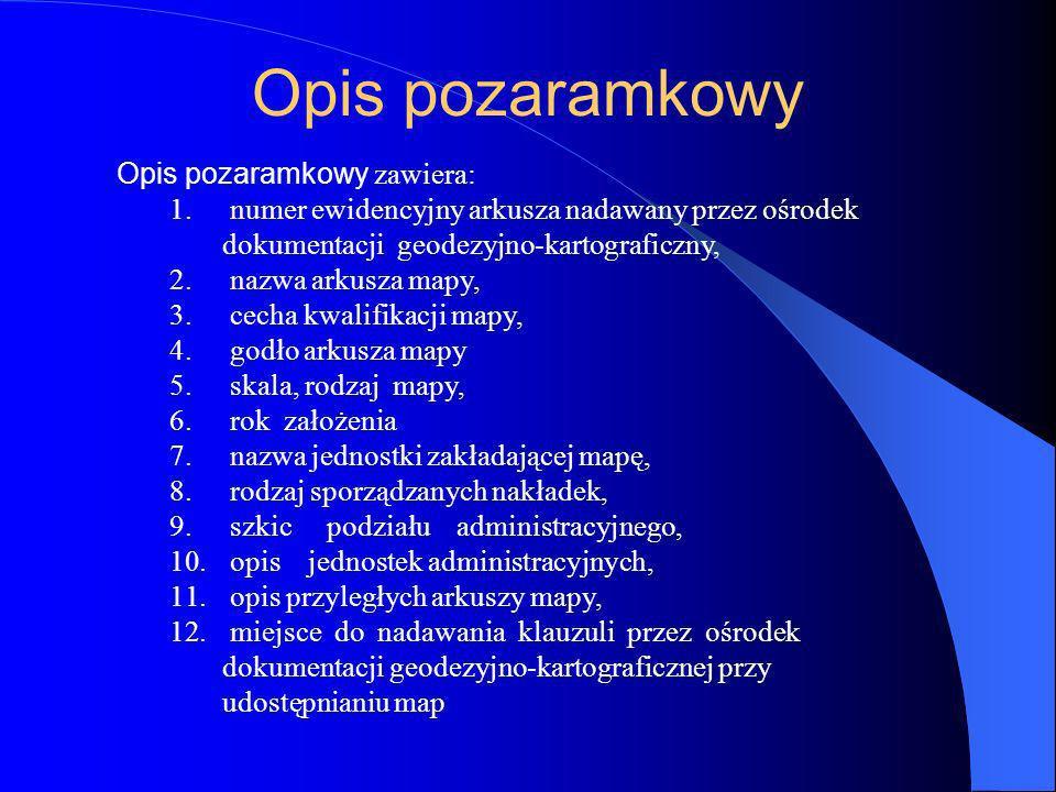 Opis pozaramkowy Opis pozaramkowy zawiera: 1. numer ewidencyjny arkusza nadawany przez ośrodek dokumentacji geodezyjno-kartograficzny, 2. nazwa arkusz