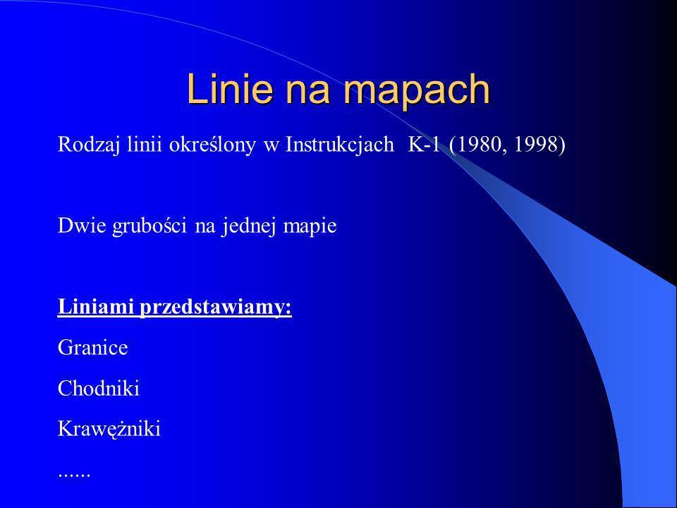 Linie na mapach Rodzaj linii określony w Instrukcjach K-1 (1980, 1998) Dwie grubości na jednej mapie Liniami przedstawiamy: Granice Chodniki Krawężnik