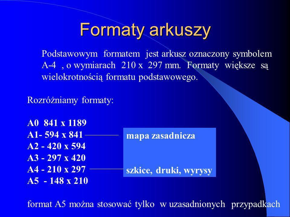 Formaty arkuszy Podstawowym formatem jest arkusz oznaczony symbolem A-4, o wymiarach 210 x 297 mm. Formaty większe są wielokrotnością formatu podstawo