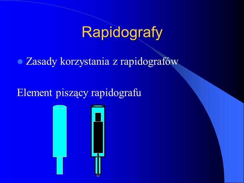 Rapidografy Zasady korzystania z rapidografów Element piszący rapidografu