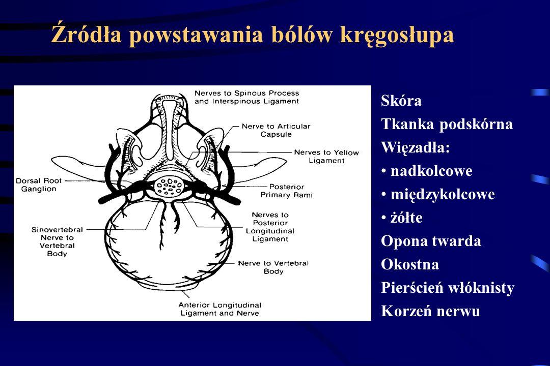 Przyczyny bólów kręgosłupa zmiany pourazowe i zwyrodnieniowe krążka międzykręgowego90% zmiany pourazowe i zwyrodnieniowe stawów kręgosłupa złamania za
