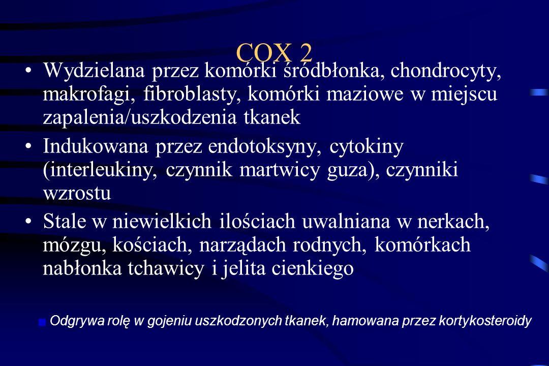 COX1 Wszechobecna (wyjątek dojrzałe krwinki czerwone) Utrzymanie hemostazy ustrojowej: Prawidłowy stan błony śluzowej p.pokarmowego Regulacja nerkoweg