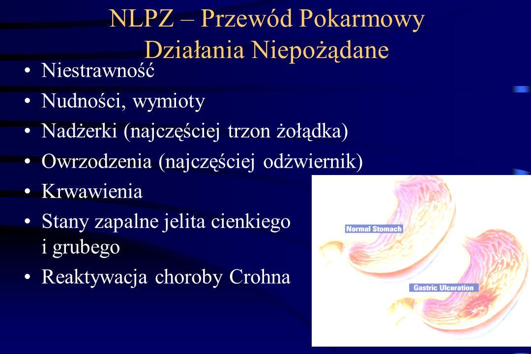 NLPZ - Działania niepożądane OUN: zawroty głowy upośledzenie słuchu Reakcje alergiczne - astma indukowana aspiryną Przewód pokarmowy: objawy dyspeptyc
