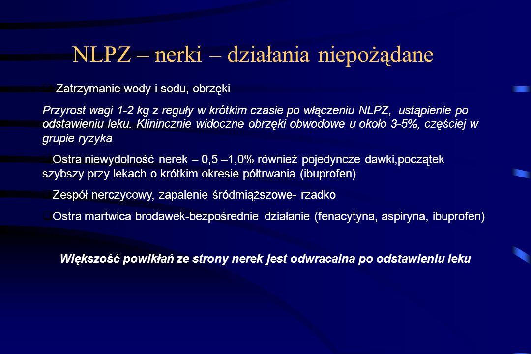 Czynniki ryzyka upośledzenia funkcji nerek przez NLPZ Podeszły wiek Niewydolność krążenia Odwodnienie ( leki moczopędne, krwotok, biegunka, wymioty) W