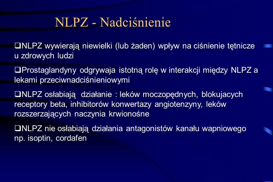 NLPZ – nerki – działania niepożądane Zatrzymanie wody i sodu, obrzęki Przyrost wagi 1-2 kg z reguły w krótkim czasie po włączeniu NLPZ, ustąpienie po