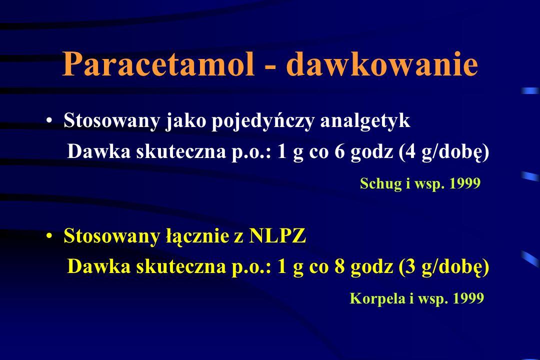 Paracetamol Zahamowanie ( COX-3 ) izoformy cyklooksygenazy występującej w OUN ? Zahamowanie syntazy tlenku azotu ( NOS ) ? Aktywacja 5-HTergicznego ko