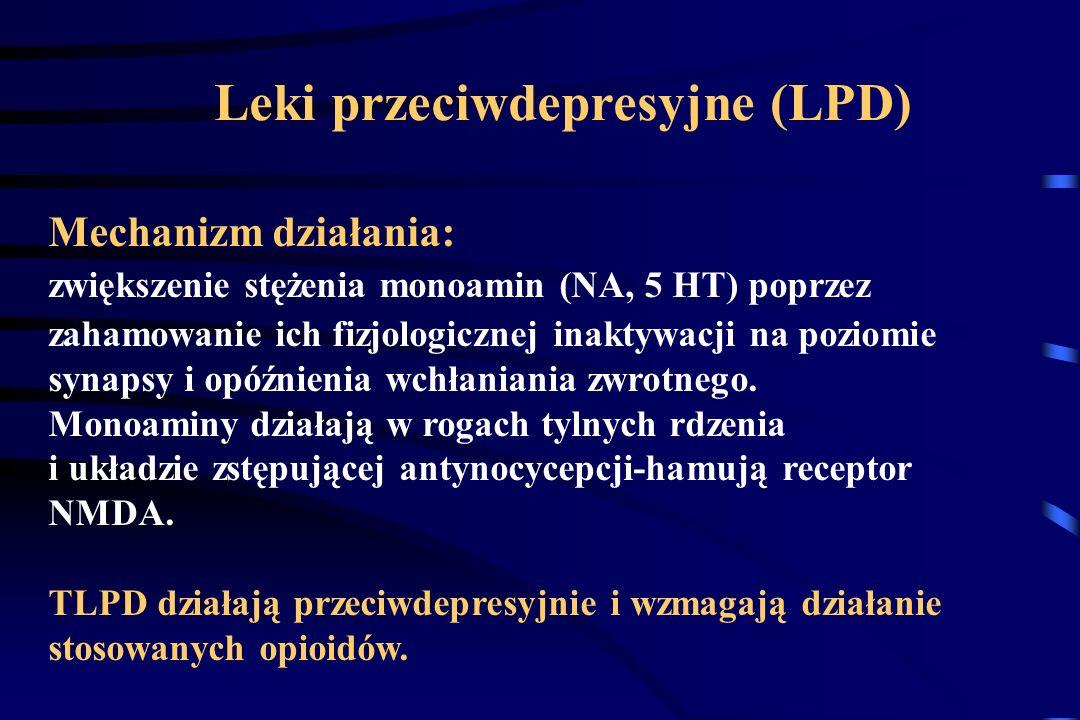Leki przeciwdepresyjne (amitryptylina, imipramina, doksepina, mianseryna, dezipramina) Leki przeciwdrgawkowe (karbamazepina, fenytoina, clonazepam) Śr