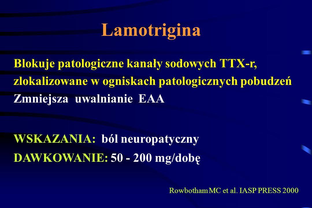 Gabapentyna Zastosowanie - ból neuropatyczny: Neuralgia popółpaścowa - skuteczność 33% / 8% placebo Neuropatia cukrzycowa - skuteczność 39% / 22% plac