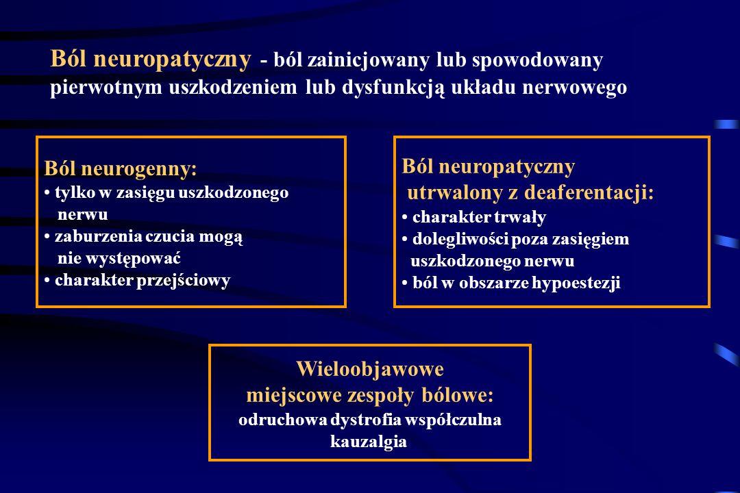 Epidemiologia bólu neuropatycznego < 1% wszystkich dolegliwości bólowych Półpasiec: 10% Neuropatia cukrzycowa: 3,5 - 60 % Ból fantomowy: 2 - 4% ZWBM:
